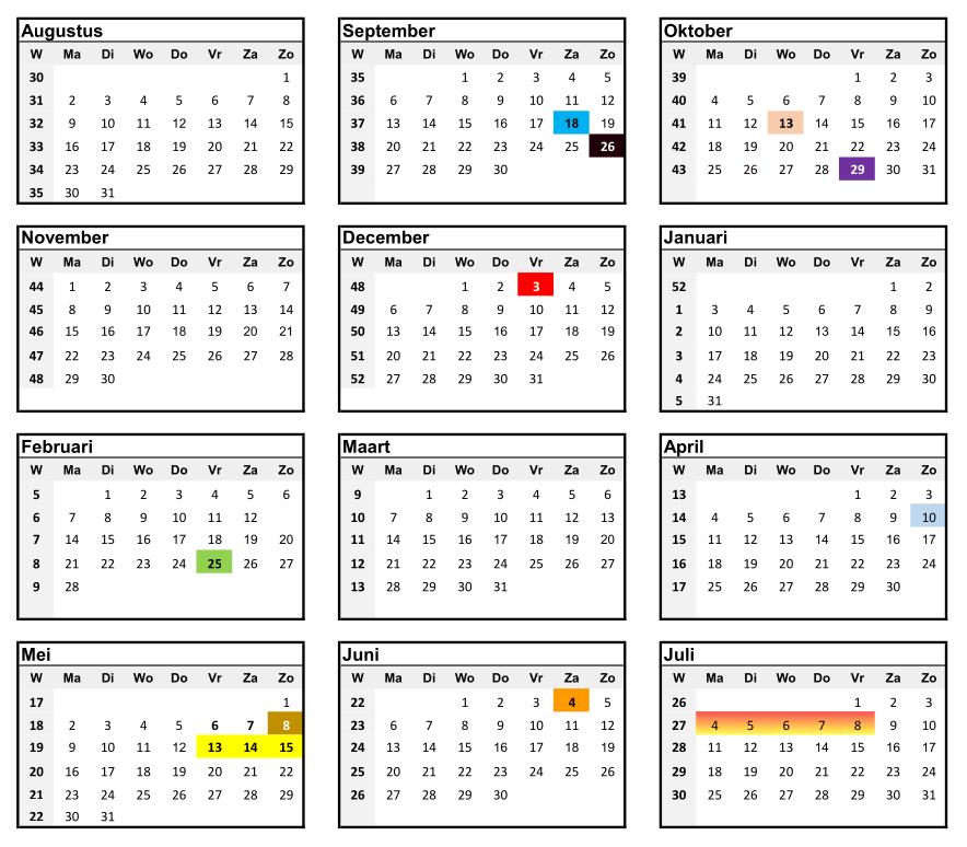 Activiteitenkalender 2021 - 2022